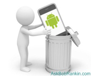 Android Phone in Trash Can