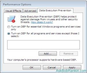 Turn off Data Execution Prevention