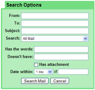 Gmail advanced search options