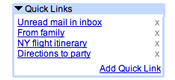 Quick Links in Gmail Labs