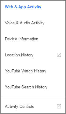 Google History search categories