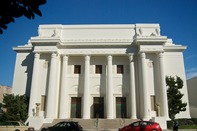 Headquarters of Internet Archive, located in the former Fourth Church of Christ, Scientist, a neoclassic building with Greek columns on Funston Avenue, in Richmond District, San Francisco, California