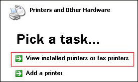 control panel - view printers