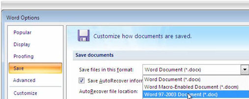 Office 2007: Save files in old format