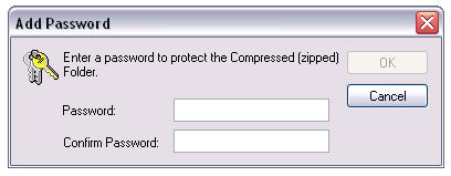 password protecting a file in a compressed folder