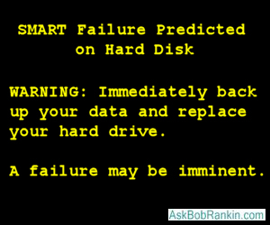 SMART failure warning message