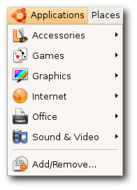 Ubuntu software apps menu