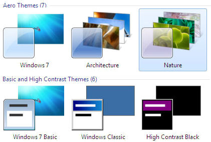 Windows 7 desktop themes