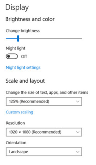 Change Windows display settings